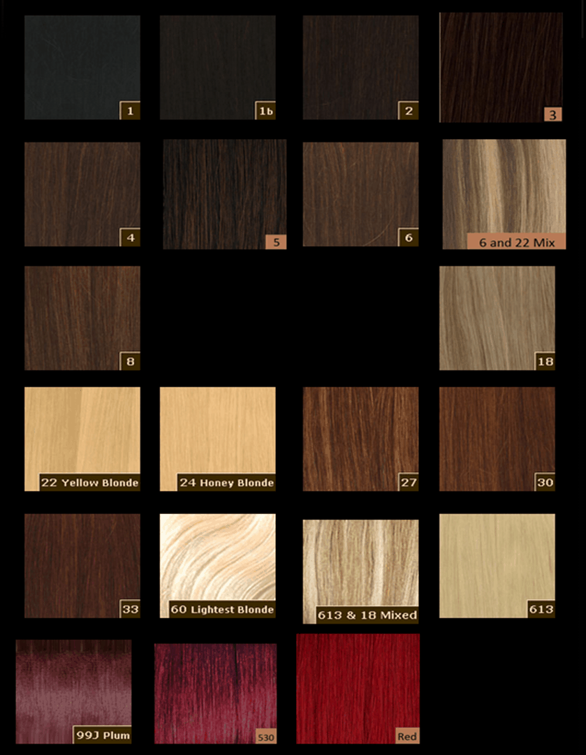 Hair Extension Colour Guide
